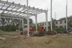 wznoszenie konstrukcji stalowej - hala produkcyjno-magazynowa, dla Arsanit, Konin