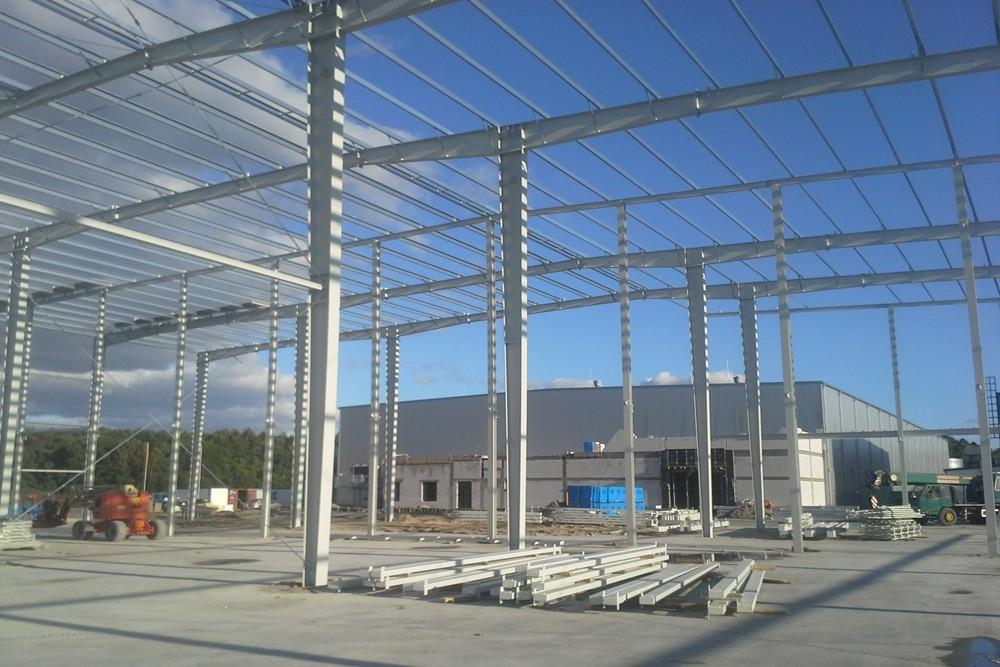 konstrukcja stalowa widok od wewnątrz - hala usługowo-magazynowa, dla Nafa, Łozienica