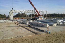 elementy konstrukcji stalowej - hala produkcyjna z budynkiem biurowym, dla LÜTTGENS, Nielbark, woj. warmińsko-mazurskie