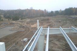 widok z góry na plac przed obiektem - hala produkcyjna z budynkiem biurowym, dla LÜTTGENS, Nielbark, woj. warmińsko-mazurskie