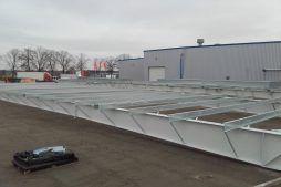przygotowywanie do montażu konstrukcji stalowej - hala magazynowa, dla firmy Gotech, Kostrzyn nad Odrą