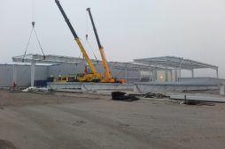 wznoszenie konstrukcji stalowej - hala magazynowa, dla firmy Gotech, Kostrzyn nad Odrą