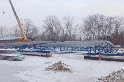 przygotowywanie do montażu konstruckji stalowej - hala produkcyjno-magazynowa, dla Złotniki, Wrocław