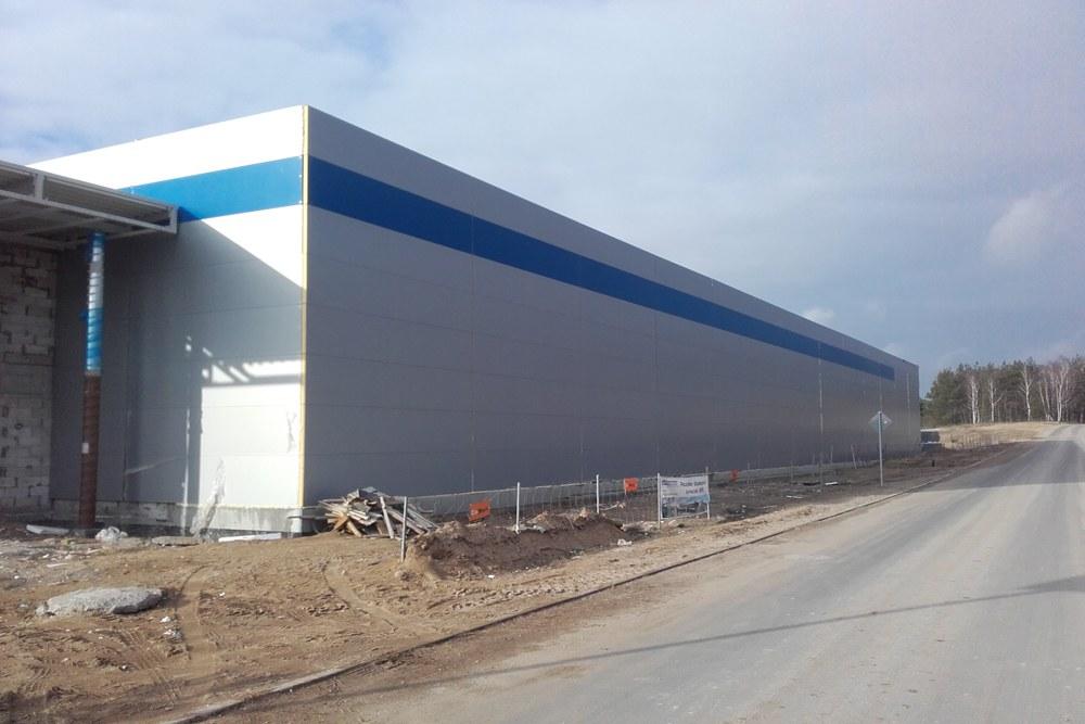 elewacja hali - hala produkcyjna z budynkiem biurowym, dla LÜTTGENS, Nielbark, woj. warmińsko-mazurskie