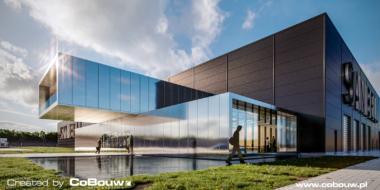 widok na wejście główne do części biurowej, wizualizacja - inwestycja dla holenderskiej firmy Sanibell, Ostrów Wielkopolski, woj. wielkopolskie
