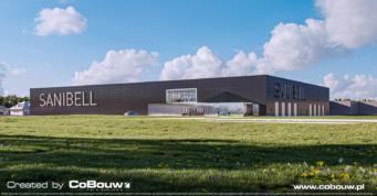 widok od strony hali, wizualizacja - magazyn mebli łazienkowych, projekt i budowa dla Sanibell BV, przez CoBouw Polska
