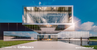 zbliżenie na część wystawienniczo-biurową, wizualizacja - hala magazynowa, dla Sanibell BV, z branży meblarskiej, Ostrów Wielkopolski