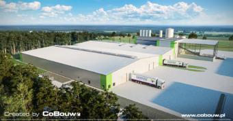 wizualizacja rozbudowy centrum produkcyjnego Liedmann - hala produkcyjno-magazynowa z częścią biurową, budowa w Krzeczowie, w woj. łódzkim, przez CoBouw Polska