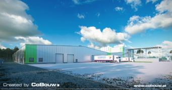 widok na nową halę Liedmann, wizualizacja - kompleks produkcyjno-magazynowy, z budynkiem biurowym, Krzeczów, woj. łódzkie