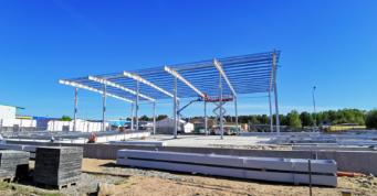 montaż uzupełniający płatwi dachowych - hala dla producenta łodzi, firmy Markos, woj. pomorskie