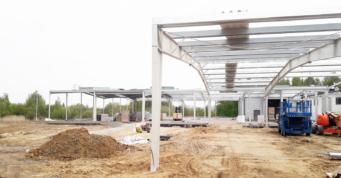 rama hali z konstrukcją drugorzędną-rozbudowa hali stalowej, dla firmy Drewco, branża meblarska, Chojna, woj. zachodniopomorskie
