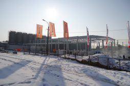 widok ogólny - hala produkcyjno-magazynowa z częścią biurową, dla Ergis, Wąbrzeźno, woj. kujawsko-pomorskie
