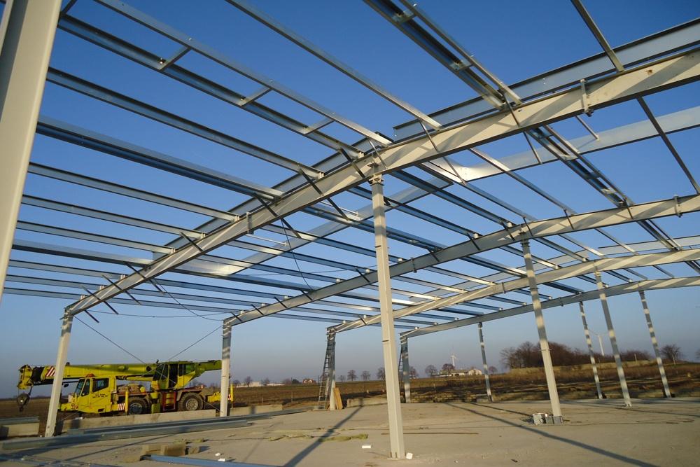 widok ogólny konstrukcji stalowej - hala produkcyjna, dla DS Group, Szadek, woj. łódzkie