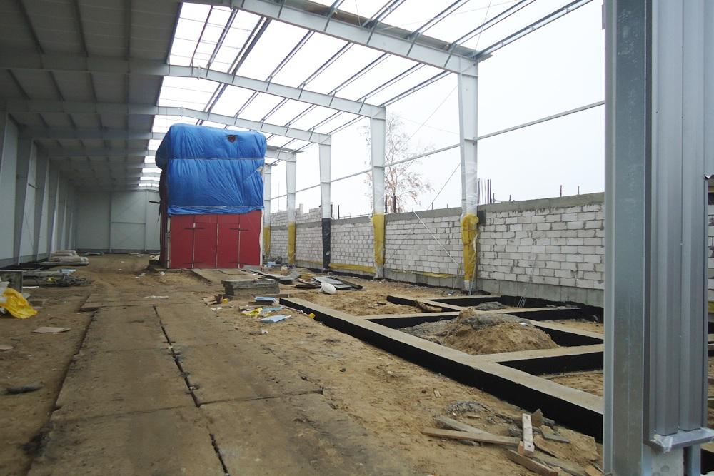 budowa widziana od wewnątrz - hala produkcyjna, dla Poleko, Nowy Dwór Mazowiecki, woj. pomorskie