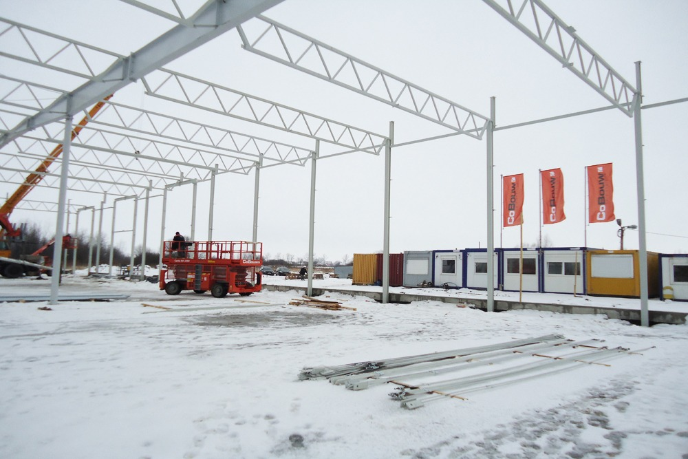 konstrukcja stalowa - hala produkcyjna z budynkiem biurowym, dla Uniservice, Skarbimierz, woj. Opolskie