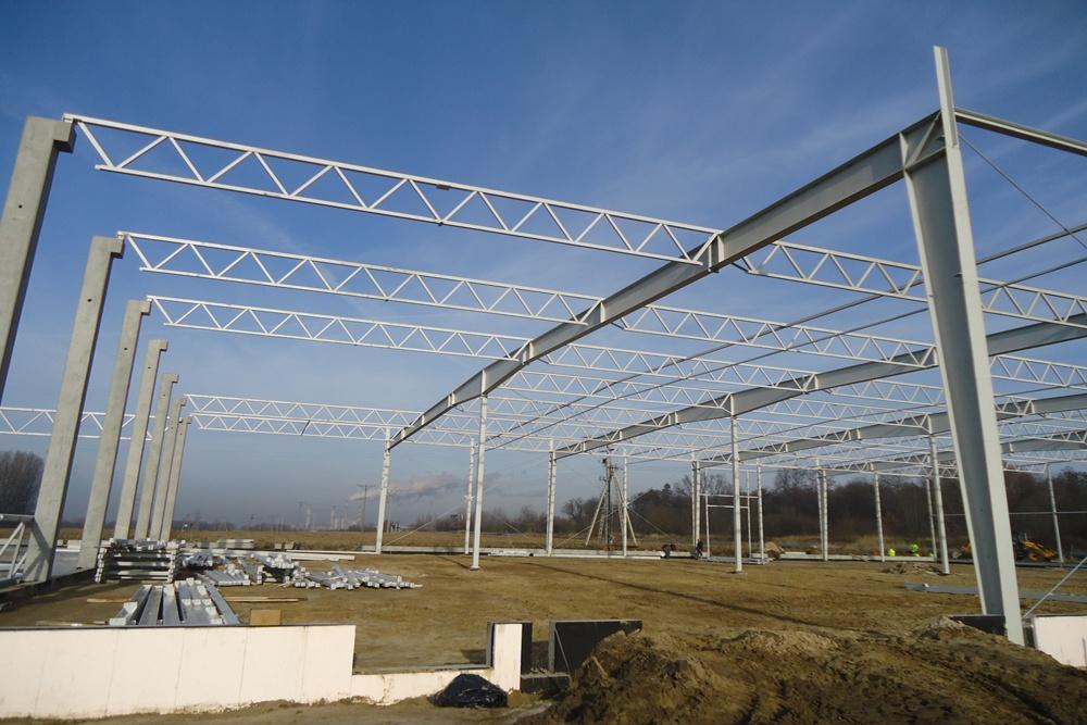 konstrukcja stalowa - hala produkcyjna z częścią biurową, dla Arsanit, Konin, woj. wielkopolskie