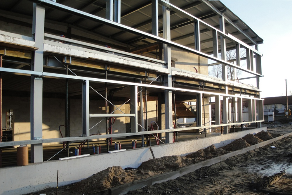 konstrukcja pod panele elewacyjne - hala produkcyjna z częścią socjalno-biurową, dla Danmar, Łódź