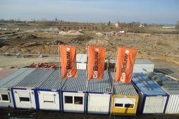banery reklamowe - hala produkcyjna z budynkiem biurowym, dla Uniservice, Skarbimierz, woj. Opolskie