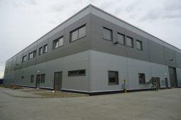 wejście główne do budynku - hala produkcyjna z częścią biurową, dla Arsanit, Konin, woj. wielkopolskie