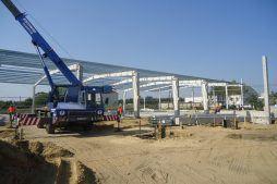 wznoszenie konstrukcji stalowej - hala produkcyjna z częścią socjalną, dla Marva International, Poznań, woj. wielkopolskie