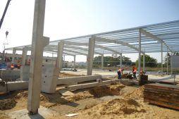 wznoszenie konstrukcji stalowej 1 - hala produkcyjna z częścią socjalną, dla Marva International, Poznań, woj. wielkopolskie