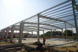 wznoszenie konstrukcji stalowej 2 - hala produkcyjna z częścią socjalną, dla Marva International, Poznań, woj. wielkopolskie