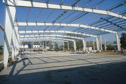 konstrukcja stalowa hali - hala produkcyjna z częścią socjalną, dla Marva International, Poznań, woj. wielkopolskie