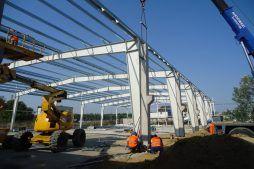 konstrukcja stalowa hali 2 - hala produkcyjna z częścią socjalną, dla Marva International, Poznań, woj. wielkopolskie