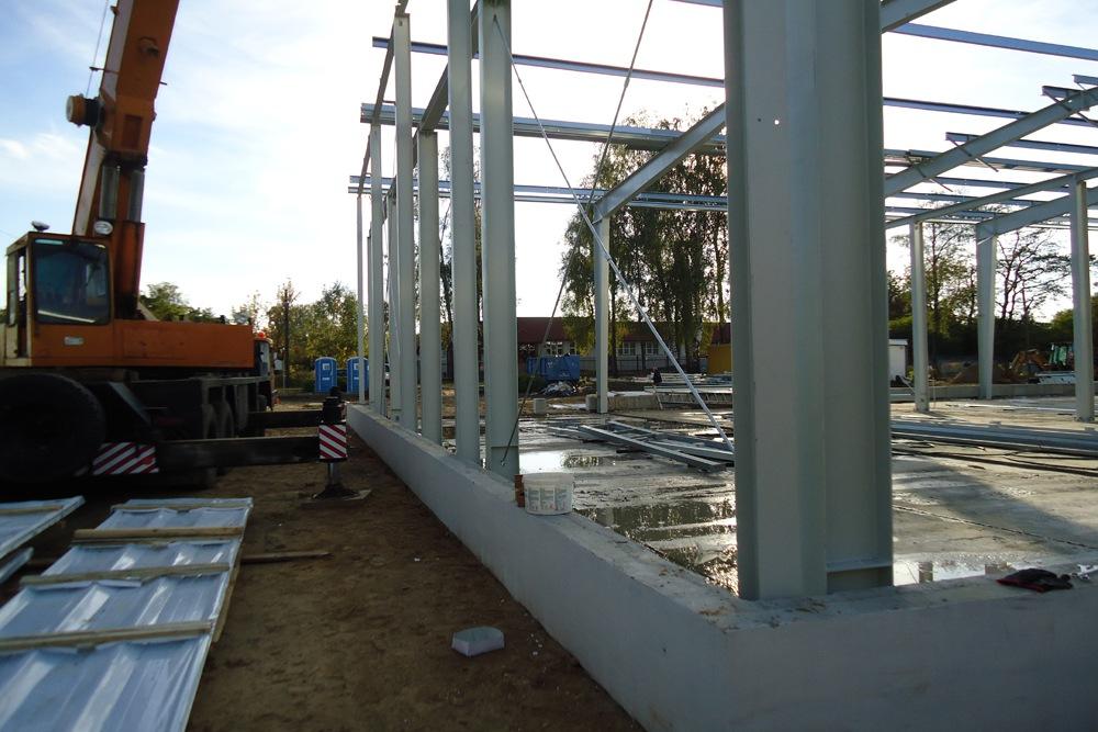 wznoszenie elementów konstrukcji stalowej - hala produkcyjna z częścią socjalno-biurową, dla Danmar, Łódź