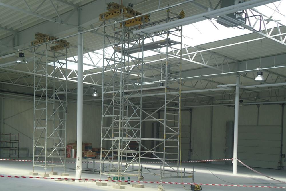 prace wykończeniowe 1 - hala produkcyjna z budynkiem biurowym, dla Uniservice, Skarbimierz, woj. Opolskie