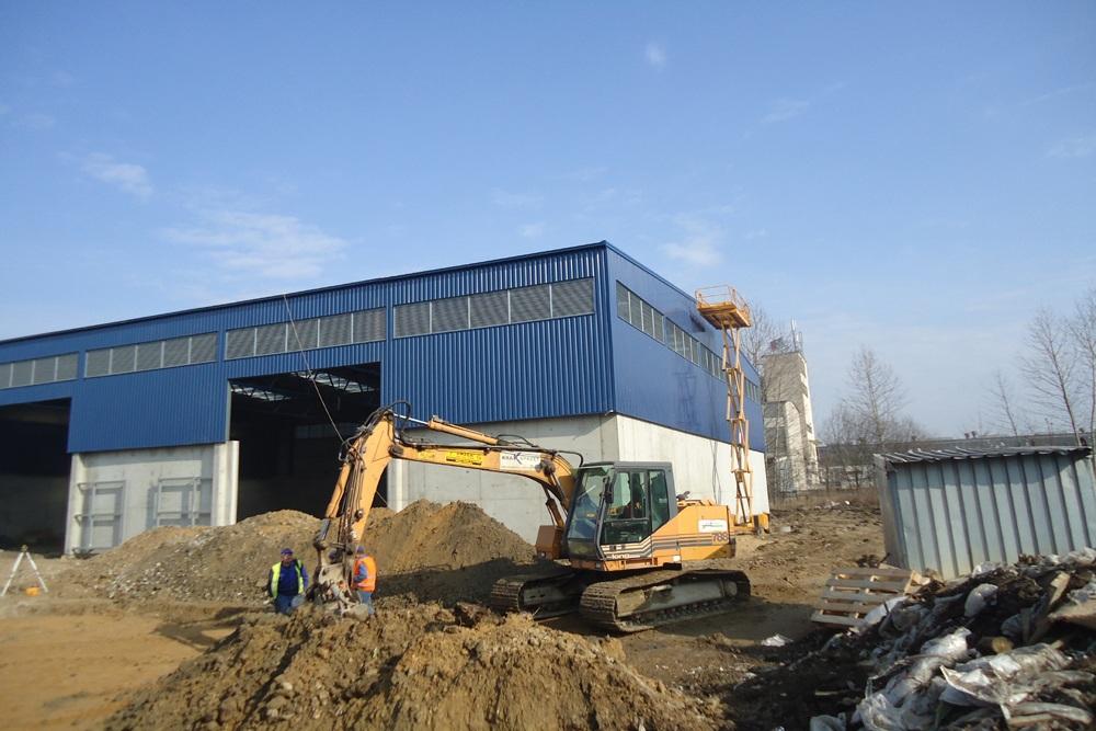 widok ogólny obiektu w trakcie budowy - hala magazynowa, dla Van Gansewinkel, Kraków, woj. małopolskie