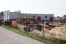 widok na plac budowy - hala produkcyjna z częścią socjalną, dla Marva International, Poznań, woj. wielkopolskie