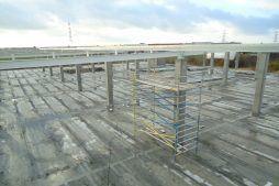 konstrukcja szkieletowa widziana z góry - hala handlowa, dla Koopman International, Komorniki, woj. wielkopolskie