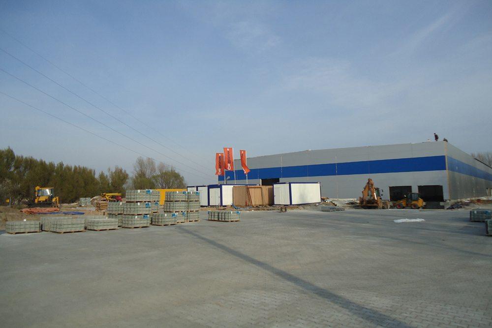 widok ogólny 2 - hala magazynowa z budynkiem biurowym, dla Hurtap SA, Głogów, woj. dolnośląskie