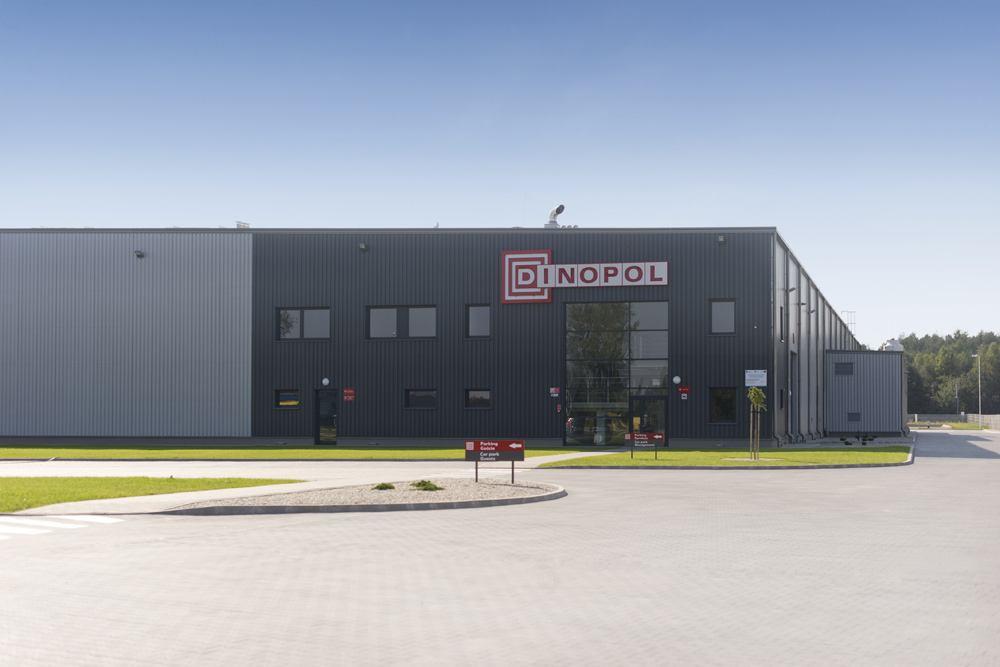 ściana frontowa 1 - hala produkcyjna z częścią biurową, dla Dinopol, Ostrów Wlkp., woj. wielkopolskie