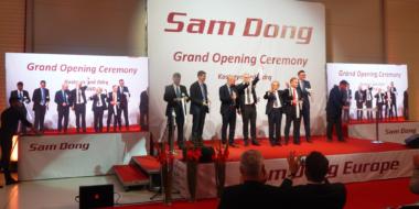 Uroczyste przecięcie wstegi-otwarcie fabryki Sam Dong Europe w Kostrzynie nad Odrą, woj. lubuskie