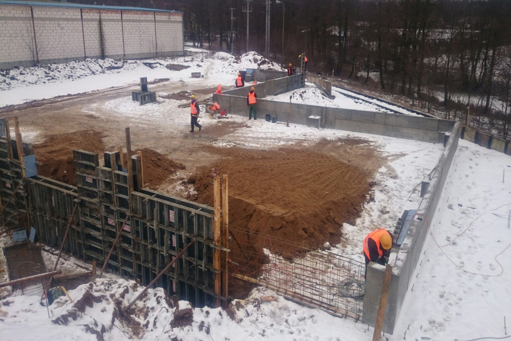 ściany fundamentowe z bloczków betonowych - hala magazynowa, Firma Telmex, Pisz