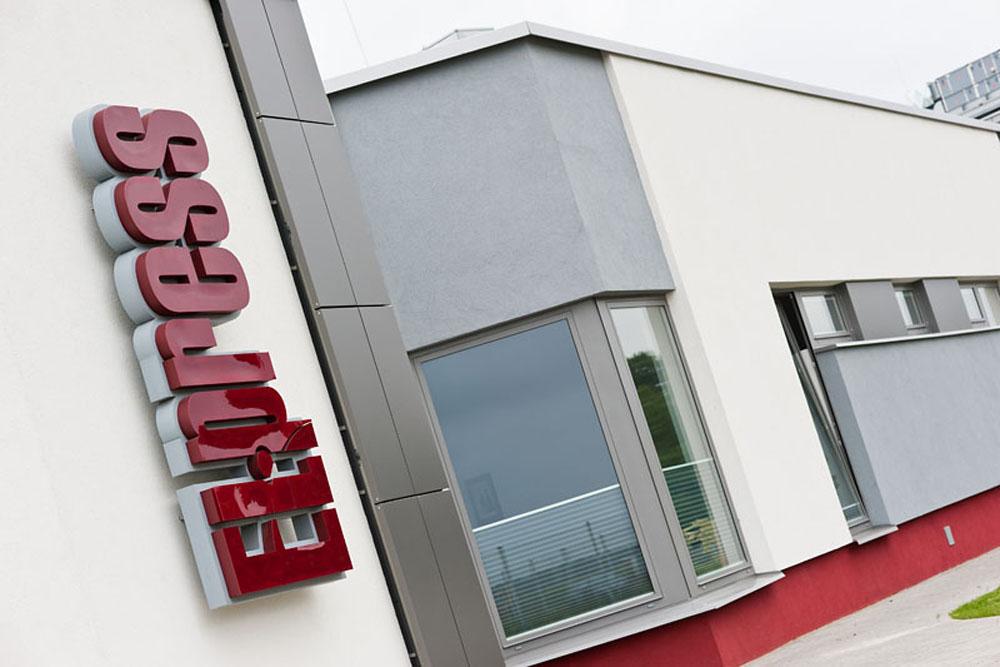 zbliżenie na logo - hala produkcyjna z budynkiem biurowym, dla El-press, Lublin, woj. lubelskie