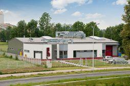 widok ogólny 1 - hala produkcyjna z budynkiem biurowym, dla El-press, Lublin, woj. lubelskie