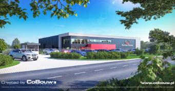 wizualizacja inwestycji dla firmy Dawstar - hala stalowa dla producenta rowerów, Olesno, woj. opolskie