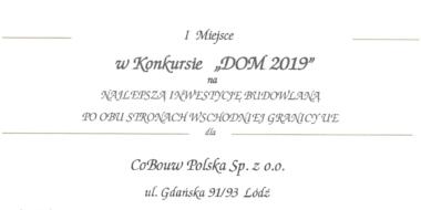Dyplom laureata w Konkursie O Kryształową Cegłę - I miejsce dla CoBouw Polska, Konkurs O Kryształową Cegłę, inwestycja dla Gorbi