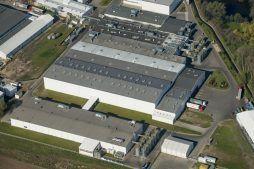 zdjęcie z lotu ptaka - hala produkcyjna z zapleczem biurowym, dla Korona SA, Wieluń, woj. łódzkie