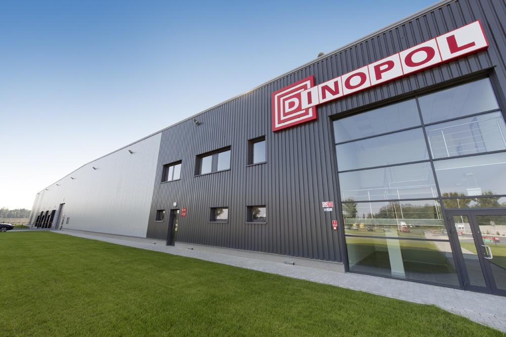 widok ogólny 1 - hala produkcyjna z częścią biurową, dla Dinopol, Ostrów Wlkp., woj. wielkopolskie