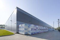ściana tylna budynku - hala produkcyjna z częścią biurową, dla Arsanit, Konin, woj. wielkopolskie