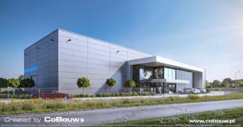 wizulizacja widoku inwestycji EGA - hala dla hurtowni kamienia, budowa w woj.mazowieckim, przez CoBouw Polska, hale stalowe