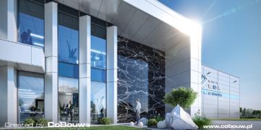 Zbliżenie na front budynku biurowego, wizualizacja - hala produkcyjna z częścią magazynową i biurowcem, dla Grupy EGA, Blizne Łaszczyńskiego, woj. mazowieckie