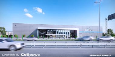 Wizualizacja budynku produkcyjno-magazynowego dla Grupy EGA - budowa hali, w miejscowości Blizne Łaszczyńskiego, w woj. mazowieckim