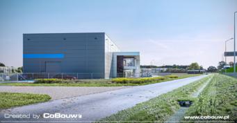 teren inwestycji EGA, wizualizacja - budynek produkcyjno-magazynowy, dla hurtowni kamienia EGA, w miejscowości Blizne Łaszczyńskiego, w woj. mazowieckim
