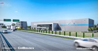 wizualizacja widoku inwestycji z drogi ekspresowej - hala dla hurtowni kamienia, dla firmy EGA, Blizne Łaszczyńskiego, woj. mazowieckie