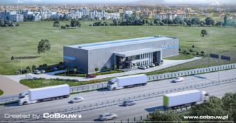 ujęcie z lotu ptaka, wizualizacja inwestycji dla EGA - projekt i budowa hali produkcyjno-magazynowej, z biurowcem, dla branzy kamieniarskiej, w woj. mazowieckim